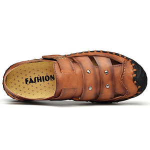 Men's Closed Toe Sandals Comfortable Leather Beach Shoes - zonechics