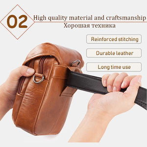 Men's Genuine Leather Phone Purse Crossbody Bag - zonechics