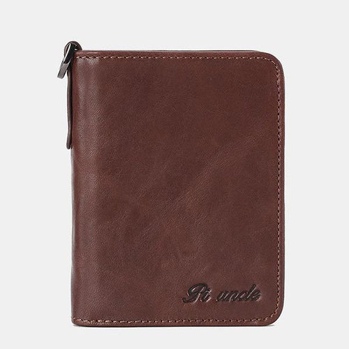 Men's Rfid Bifold Genuine Leather Wallet Zipper Purse - zonechics