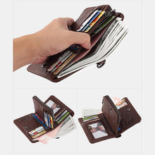 Load image into Gallery viewer, Men's Rfid Bifold Genuine Leather Wallet Zipper Purse - zonechics