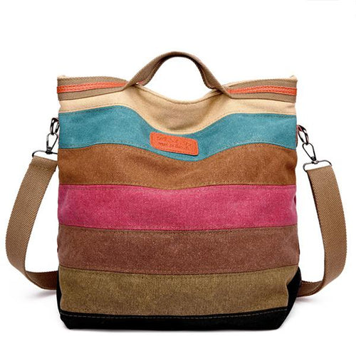 Multi-Color Stripe Large Handbag - zonechics