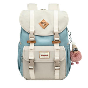 Multicolor Canvas Casual Patchwork Backpack - zonechics