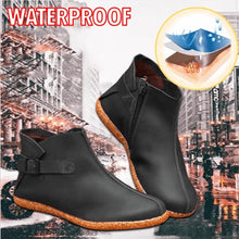 Load image into Gallery viewer, Women Casual Comfy Round Toe Zipper Pu Ankle Boots - zonechics