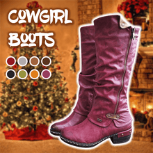 Load image into Gallery viewer, Women's Winter Cowboy Boots Wide Calf With Fur Knee Boots - zonechics