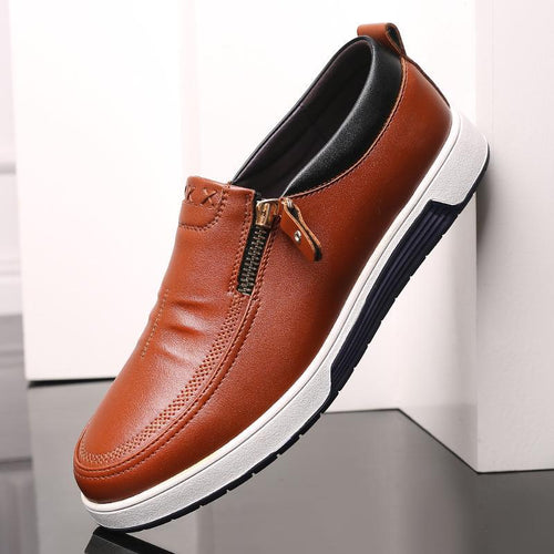 Stylish Men Leather Shoes With Side Zipper Casual Loafers - zonechics