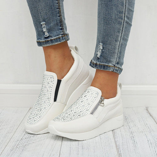 Women Rhinestone Sneakers With Thick-Soled Outdoor Walking Shoes - zonechics