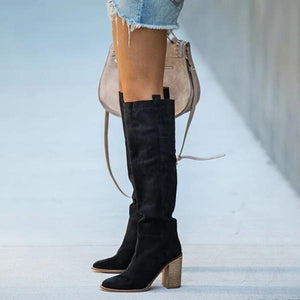 Women Distressed Faux Suede Slouch Boots - zonechics