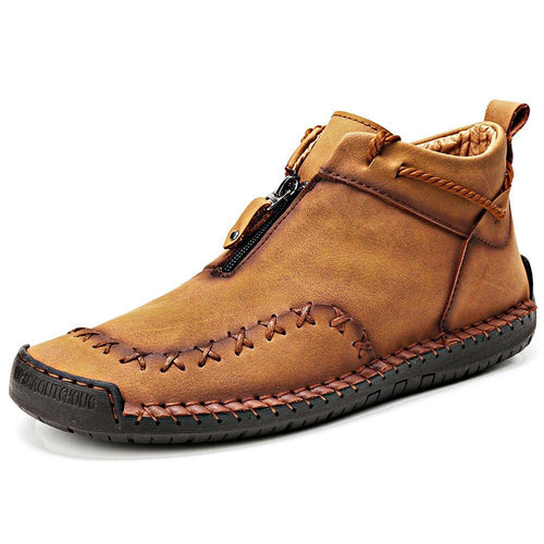 Men Hand Stitched Lace-Up Fall Boots - zonechics