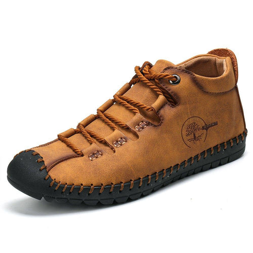 Men Hand Stitching Comfy Soft Microfiber Leather Lace Up Ankle Boots - zonechics