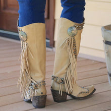 Load image into Gallery viewer, Women Vintage Tassel Western Boots with Zipper - zonechics