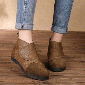 Women Retro Soft Genuine Leather Splicing Hook Loop Flat Ankle Boots - zonechics