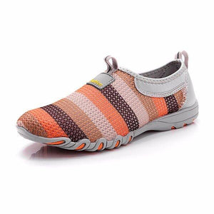Womens Casual Sneakers With Colorful Striper Breathable Slip On Shoes - zonechics