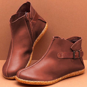 Women Casual Comfy Round Toe Zipper Pu Ankle Boots - zonechics
