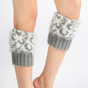 Women's Knitted Fur Flip Leopard Socks - zonechics