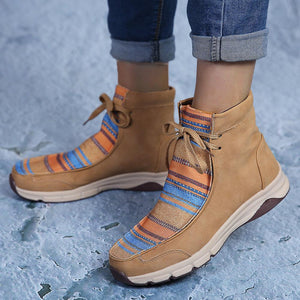 Women Winter Comfortable Splicing Lace Up Flat Short Boots - zonechics