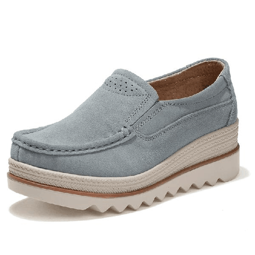 Womens Platform Shoes Breathable Suede Loafers & Slip ons - zonechics