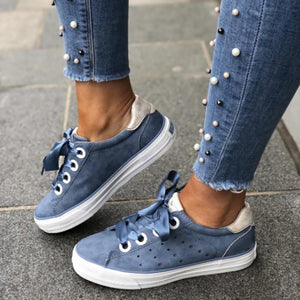 Women Lace Up Breathable Couple Casual Sneakers - zonechics