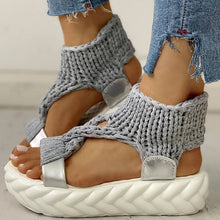 Load image into Gallery viewer, Women Sandals Knitted Cutout Platform Sandals - zonechics