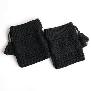 Women's Warm Knit Twill Tassel Headgear Socks - zonechics