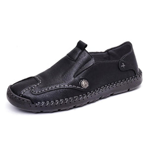 Men Hand Stitching Soft Slip On Comfort Leather Loafers - zonechics