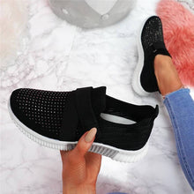 Load image into Gallery viewer, Women Fashion Bling Rhinestones Flyknit Fabric Slip On Breathable Platform Sneakers