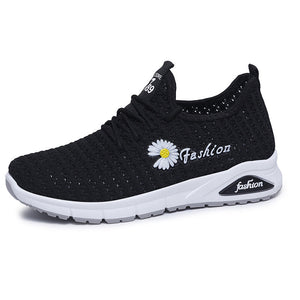 Women Daisy Decor Breathable Mesh Lightweight Casual Sport Shoes - zonechics