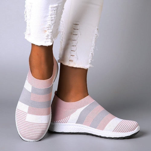 Women Comfy Color Block Slip-on Running Sneakers - zonechics