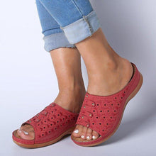Load image into Gallery viewer, Women's Slide Sandals Open Toe Comfy Rivet Wedge Sandals - zonechics