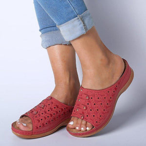 Women's Slide Sandals Open Toe Comfy Rivet Wedge Sandals - zonechics