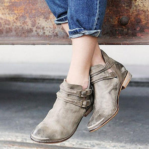 Women's Ankle Low Heels Buckle Pumps Boots