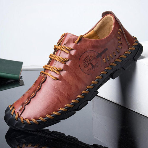 Men's Hand Stitching Cow Leather Outdoor Non Slip Casual Shoes - zonechics