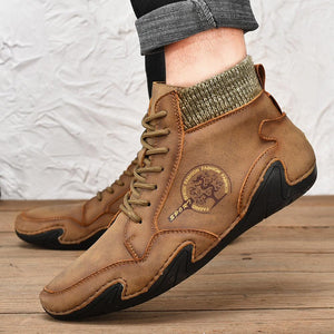 Men Handmade Soft Slip Resistant Lace Up Leather Ankle Boots