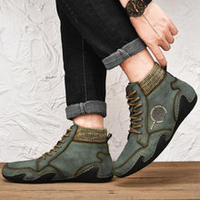 Load image into Gallery viewer, Men Handmade Soft Slip Resistant Lace Up Leather Ankle Boots