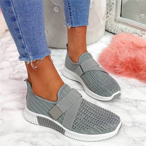 Women Fashion Bling Rhinestones Flyknit Fabric Slip On Breathable Platform Sneakers
