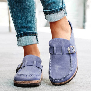 Women Casual Comfy Leather Slip On Sandals - zonechics