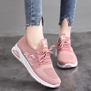 Women Letter Pattern Fabric Breathable Wearable Sports Casual Sneakers - zonechics