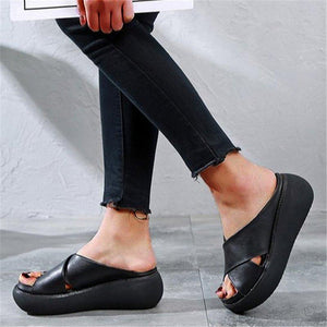 Women's Slide Sandals Open Toe Comfy Platform Sandals - zonechics