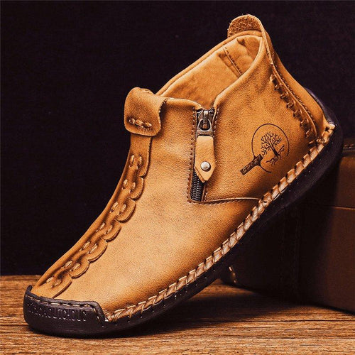 Men Hand Stitching Leather Non Slip Side Zipper Casual Boots - zonechics