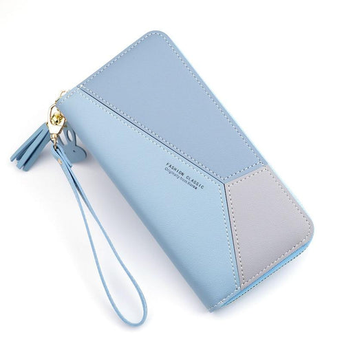 Women Geometric Zipper Card Holder Wallet - zonechics