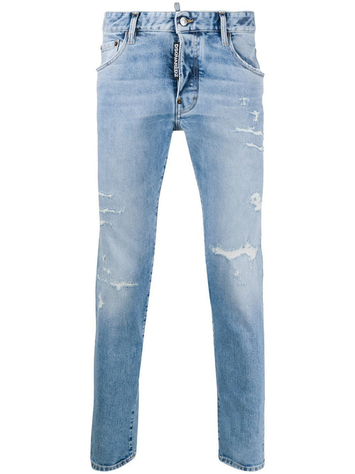 DSQUARED2 MEN'S DISTRESSED LIGHT BLUE SKINNY JEANS