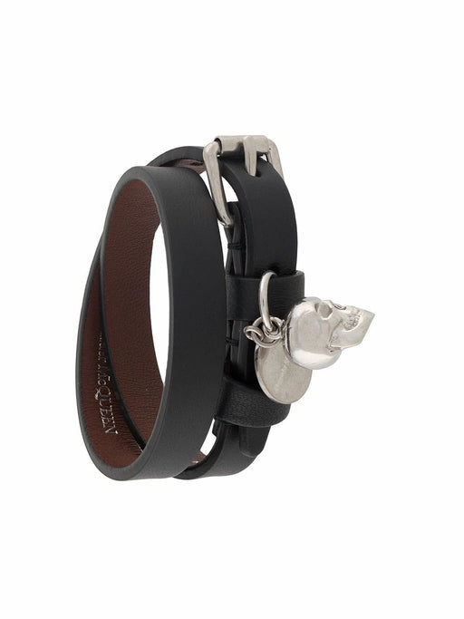 ALEXANDER MCQUEEN WOMEN'S BLACK & SILVER LEATHER BRACELET