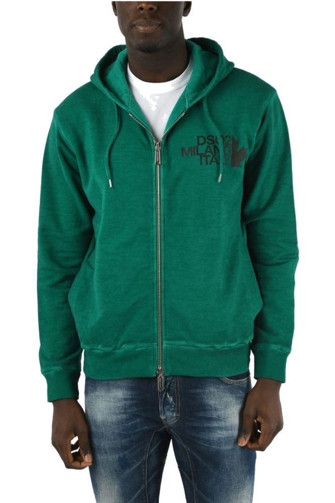DSQUARED2 MEN'S GREEN ZIP HOODY