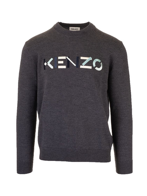KENZO MEN'S LOGO PRINT WOOL SWEATER
