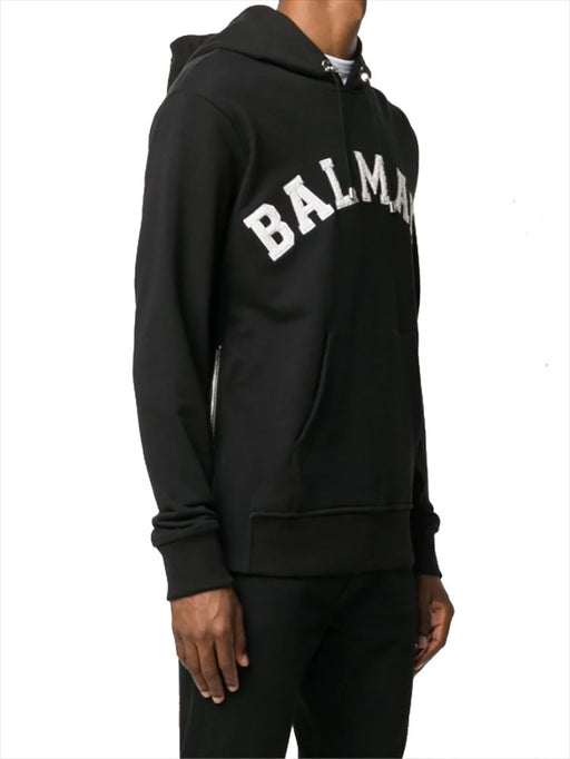 BALMAIN MEN'S COLLEGE LOGO COTTON HOODY