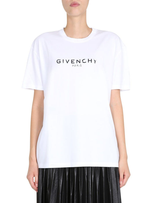 GIVENCHY WOMEN'S ANTIQUE-EFFECT LOGO OVERSIZED T-SHIRT