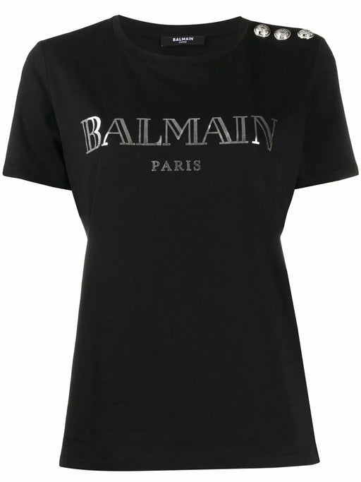 BALMAIN WOMEN'S BLACK COTTON T-SHIRT WITH SILVER BALMAIN PRINT