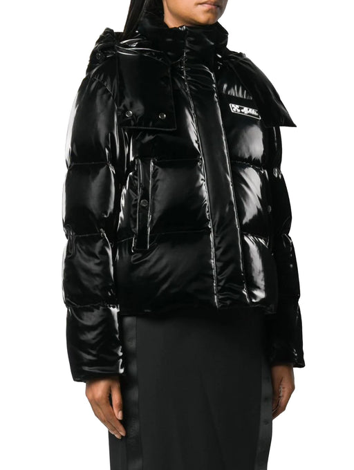 OFF-WHITE WOMEN'S LOGO PATCH PUFFER JACKET