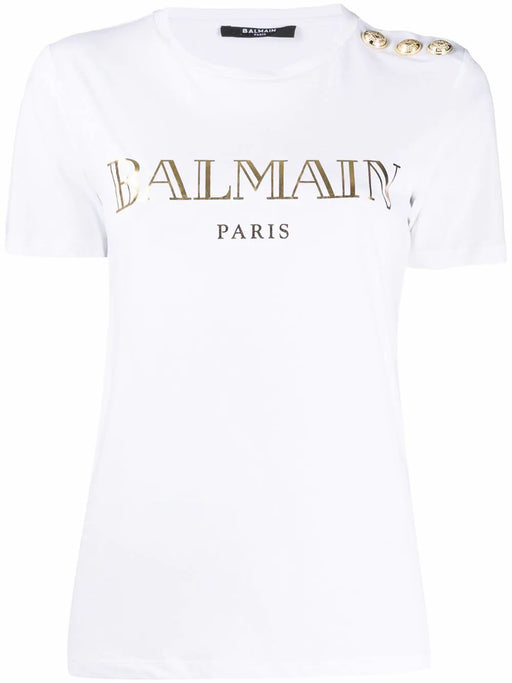 BALMAIN WOMEN'S WHITE COTTON T-SHIRT WITH GOLD BALMAIN PRINT