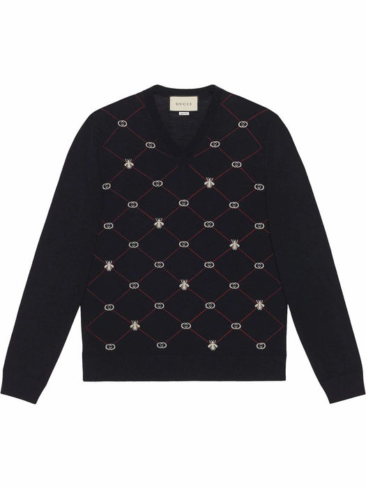GUCCI MEN'S GG BEE LOGO WOOL SWEATER