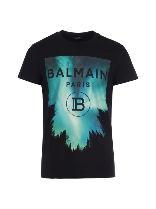 BALMAIN MEN'S NATURE PRINT COTTON T-SHIRT